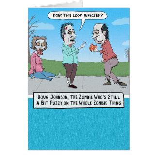 Cartão de aniversário confuso engraçado do zombi