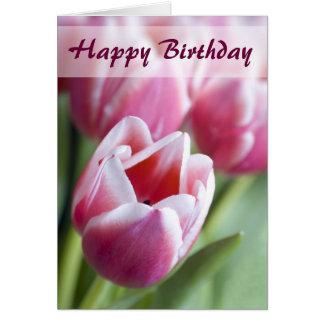Cartão de aniversário cor-de-rosa bonito da tulipa
