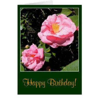 Cartão de aniversário cor-de-rosa da camélia