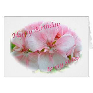 Cartão de aniversário cor-de-rosa da irmã da