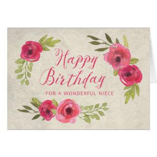Cartão de aniversário cor-de-rosa da sobrinha dos
