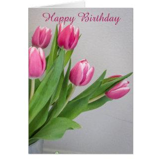Cartão de aniversário cor-de-rosa da tulipa