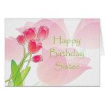 Cartão de aniversário cor-de-rosa da tulipa para a