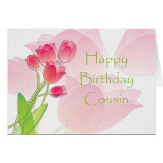 Cartão de aniversário cor-de-rosa da tulipa para o
