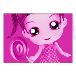 Cartão de aniversário cor-de-rosa de Chibi