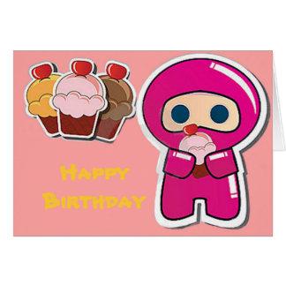 Cartão de aniversário cor-de-rosa de Ninja- do