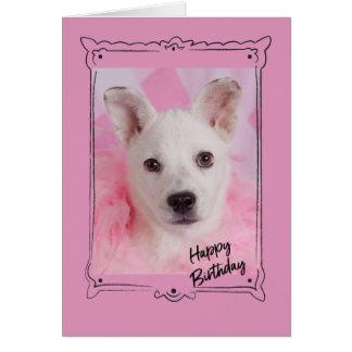 Cartão de aniversário cor-de-rosa do anjo