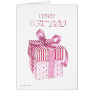 Cartão de aniversário cor-de-rosa do presente