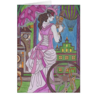 Cartão de aniversário cor-de-rosa do vestido de