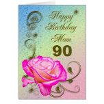 Cartão de aniversário cor-de-rosa elegante do 90 p