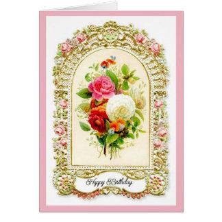 Cartão de aniversário cor-de-rosa restaurado do