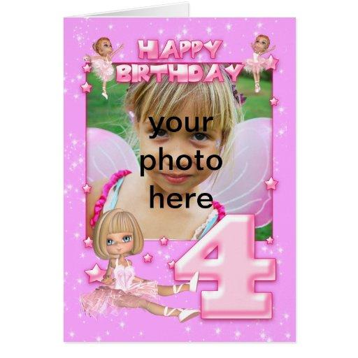 cartão de aniversário customizável da foto do 4o a