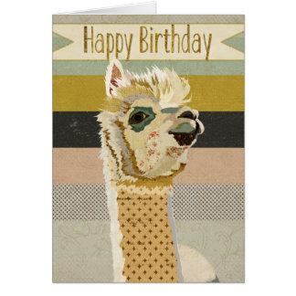 Cartão de aniversário da alpaca