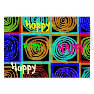 Cartão de aniversário da arte da cor do arco-íris