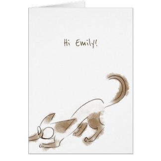 Cartão de aniversário da arte do gatinho do gato