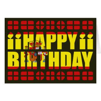 Cartão de aniversário da bandeira da espanha