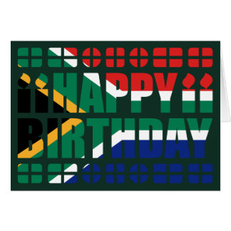 Cartão de aniversário da bandeira de África do Sul