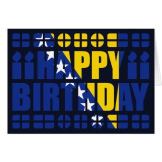 Cartão de aniversário da bandeira de Bósnia - de