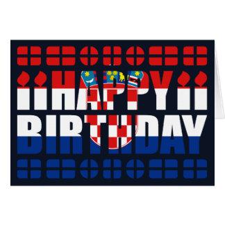 Cartão de aniversário da bandeira de Croatia