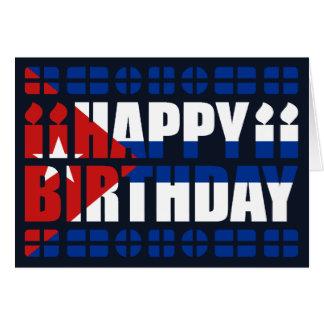Cartão de aniversário da bandeira de Cuba