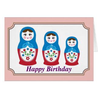 Cartão de aniversário da boneca do russo