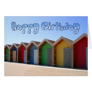 Cartão de aniversário da cabana da praia