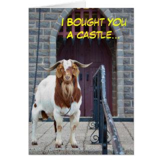 Cartão de aniversário da cabra e do castelo