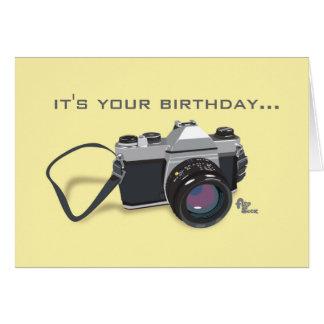 Cartão de aniversário da câmera
