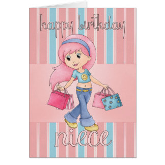 Cartão de aniversário da compra da sobrinha - fême