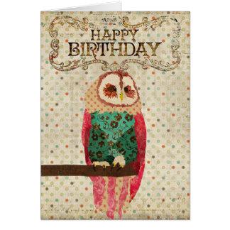 Cartão de aniversário da coruja de Rosa