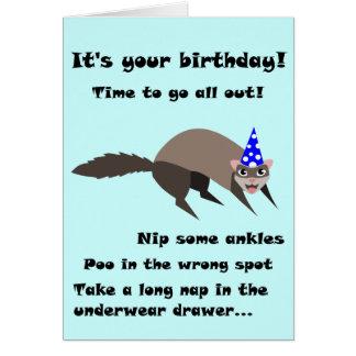 Cartão de aniversário da doninha