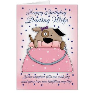 Cartão de aniversário da esposa - animal de estima