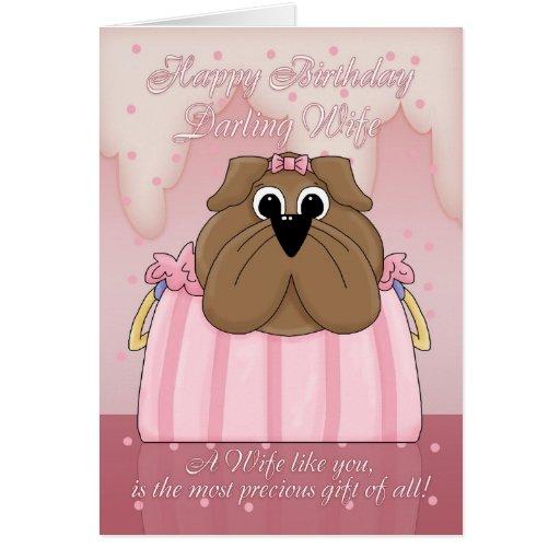 Cartão de aniversário da esposa - buldogue bonito