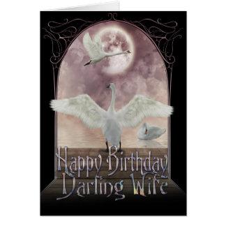 Cartão de aniversário da esposa - cisnes