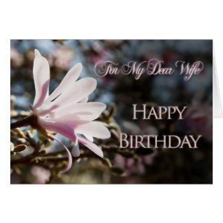 Cartão de aniversário da esposa com magnólia