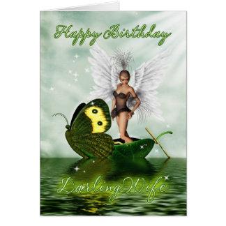 Cartão de aniversário da esposa - fada da cisne da