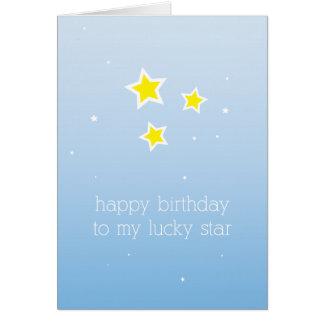 Cartão de aniversário da estrela afortunada