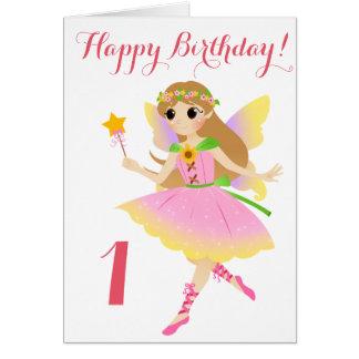 Cartão de aniversário da fada primeiro