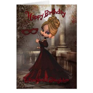 Cartão de aniversário da filha com a torta Masq de