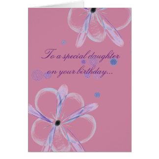 Cartão de aniversário da filha com arte da flor