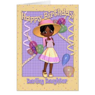 Cartão de aniversário da filha - menina bonito