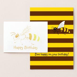 Cartão de aniversário da folha da abelha