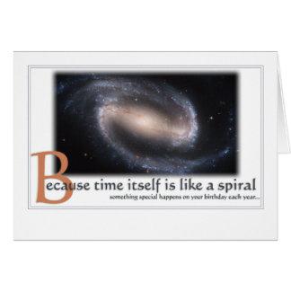 Cartão de aniversário da galáxia espiral -