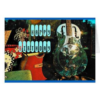 Cartão de aniversário da guitarra - personalizado