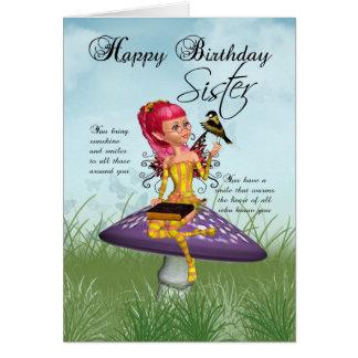 Cartão de aniversário da irmã com fada e Chaffinch