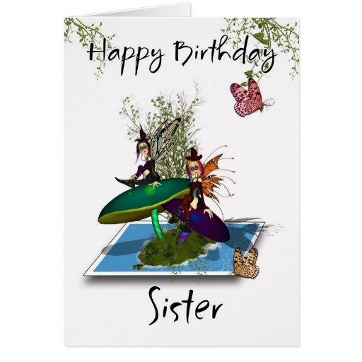 Cartão de aniversário da irmã - fadas góticos boni