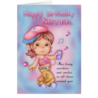 Cartão de aniversário da irmã - menina bonito com