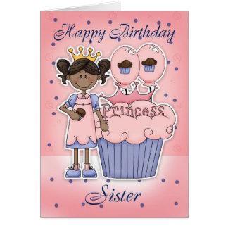 Cartão de aniversário da irmã - princesa do cupcak