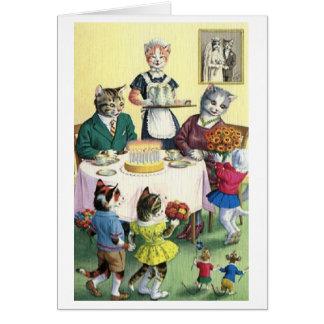 Cartão de aniversário da mãe da família de gato do
