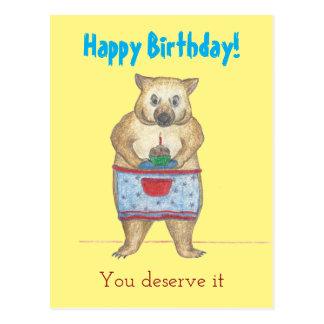 Cartão de aniversário da mãe de Wombat